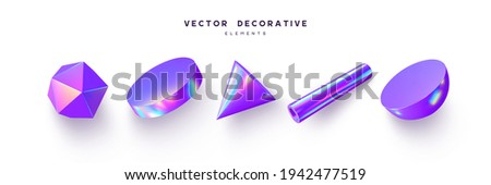 3d render primitive shapes. Realistic 3d sphere, cone, tube. Glossy holographic geometric shapes isolated on white background. Iridescent trendy design, thin film effect. Vector.