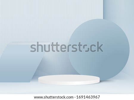 3D render vector of blue abstract geometric background or texture. Bright pastel podium or pedestal backdrop. Blank minimal design concept. Stage for awards ceremony on website in modern blue shape