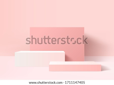 3D render vector of pink abstract geometric background product. Bright pastel podium 3d or pedestal backdrop. Blank minimal product design concept. Stage pink product on website in modern pink display