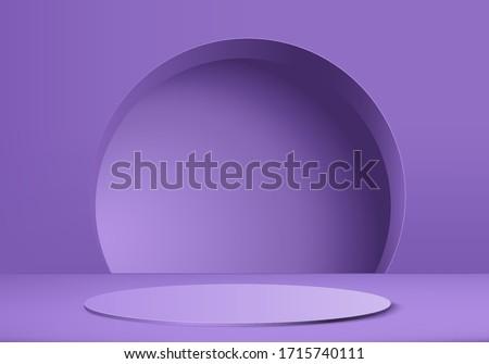 3D render vector of purple abstract geometric background. product purple pastel podium or pedestal backdrop. stage minimal design purple platform. Stage for product display on violet background 3d.