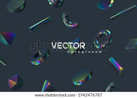 3d rendered primitive abstract shapes background. Realistic 3d sphere, torus, cone, cube, tube. Glossy holographic geometric shapes. Iridescent trendy design, thin film effect. Vector. Photo stock ©