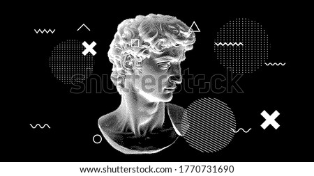 3D rendering of Michelangelo's David head in pixel art 8-bit style. Concept of Academic art and classical fine arts in modern contemporary stylization.