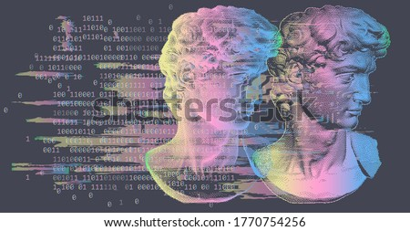3D rendering of Michelangelo's David head in pixel art 8-bit style with glitchy effect. Concept of Academic art and classical fine arts in modern contemporary stylization.