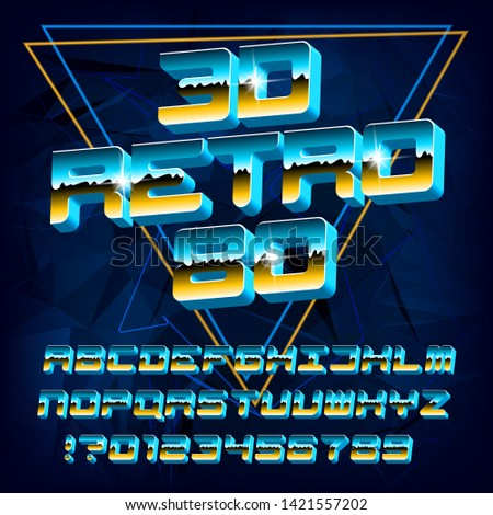 3D Retro 80 alphabet font. Gradient letters and numbers. Abstract background. Stock vector typeface for your design in 80s style.