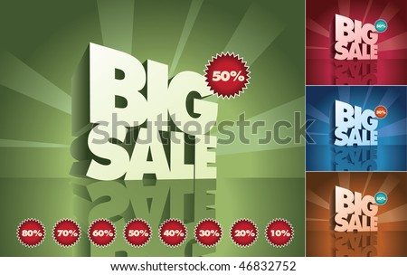 3d retro big sale text and percent tags. Vector design elements set. Print ready CMYK color mode.