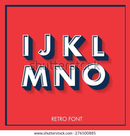 3d retro font/typeface/typography/lettering vector/illustration i,j,k,l,m,n,o