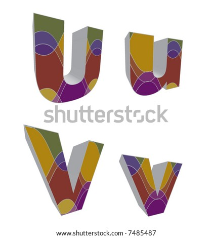 3D retro funky alphabets (vector) - part of a complete set