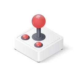 3D retro joystick gamepad isolated on white background. Isometric vector illustration