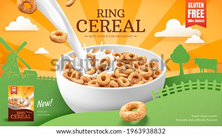 3d ring cereals or cheerios ad template. A bowl of cereals with pouring milk splashes. Paper cut farm landscape silhouette background. Concept of healthy breakfast. Сток-фото ©