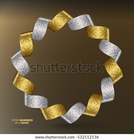3d round golden and silver ribbon banner frame with arabesque floral elements on abstract background