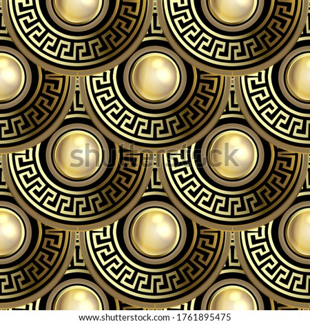 3d round mandalas Deco seamless pattern. Ornate jewelry greek background. Ornamental repeat vector backdrop. Luxury surface ornament. Abstract modern design. Golden gemstones. Greek key meanders.
