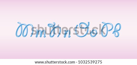 glossy blue bubble typeset with letters m n o