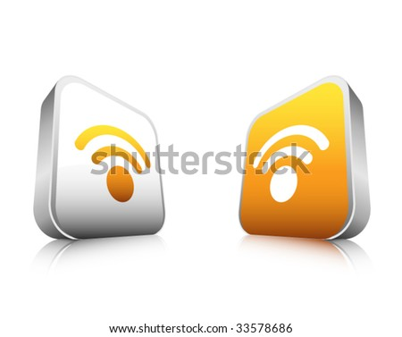 3D RSS button - stock vector