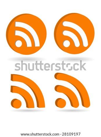 3d rss icons vector