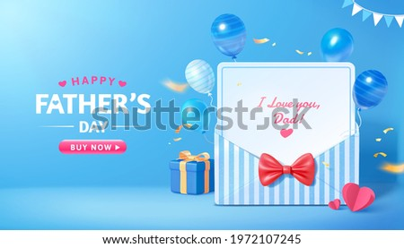 3d sale promo banner for happy Father's Day. Layout design of blue stripe envelope with flying balloon decorations. Concept of gratitude for dads