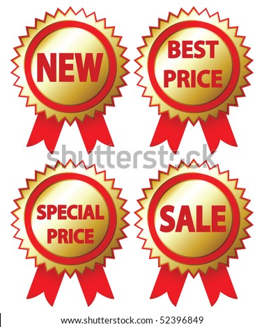 3D sale stickers on a white background. Vector illustration.