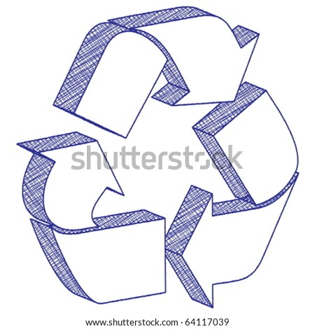 3D scratch recycling symbol on a white background. Vector illustration.