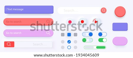 3D Search bar. Set Search bar vector element design, set of search boxes ui template isolated on gray background