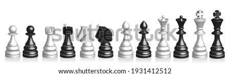 3d set of black and white chess
