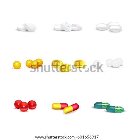 3D set of pills and capsules of various shapes and colors on white background isolated vector illustration
