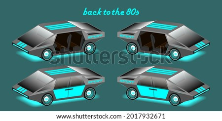 3d set of retro sports unusual neon glowing cars without doors. The inscription, back to the 80s