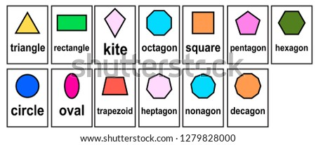 2D Shape  2D geometric model Word Cards for kid and  kindergarten set vector