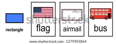 2D shape matching shape to real life object on white background vector illustration