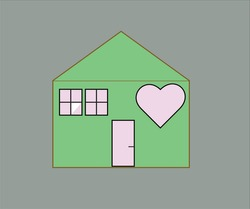 2D shape of green color house with soft pink love heart symbol on grey background