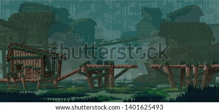 2D side-scroller game background. Swamp city location. Swamp abandoned wooden huts, wooden bridges. For use in developing, prototyping  adventure, side-scrolling games or apps.