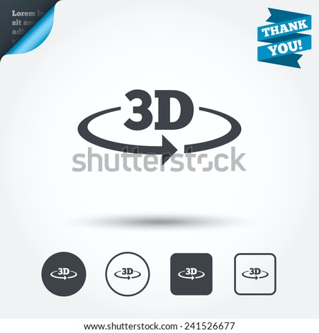 3D sign icon. 3D New technology symbol. Rotation arrow. Circle and square buttons. Flat design set. Thank you ribbon. Vector
