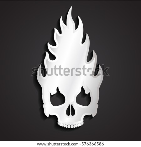 3d silver flame skull symbol