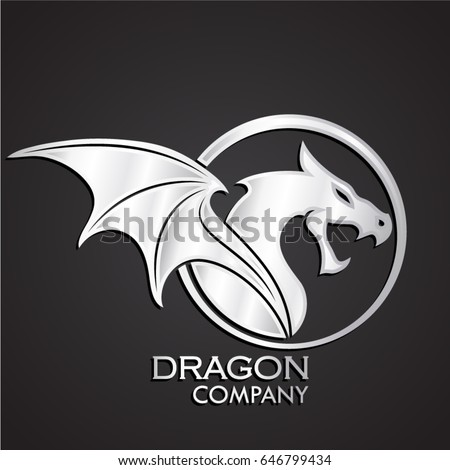 3d silver metal dragon logo