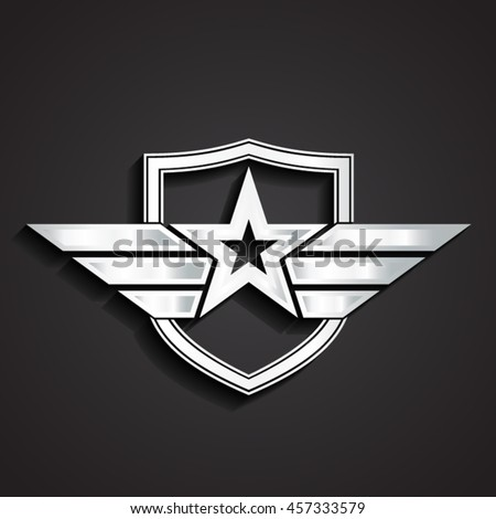 3d silver military star symbol