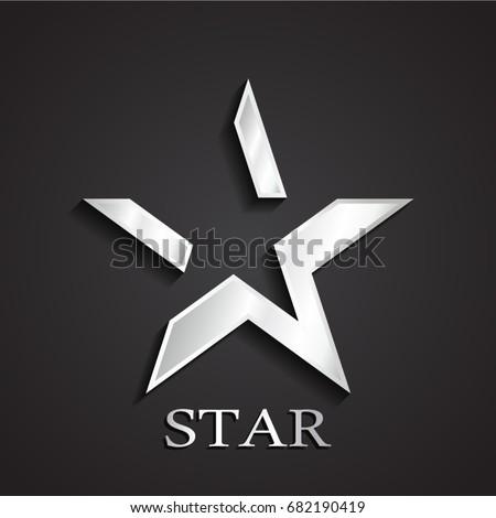3d silver negative shape star