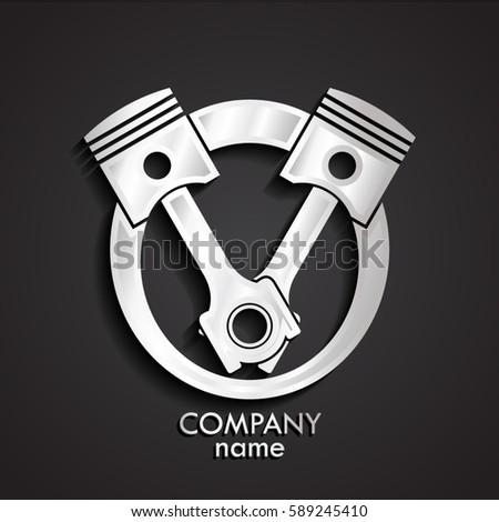 3d silver pistons logo