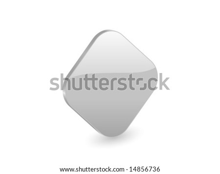 3D silver rhomb isolated on white background. Vector illustration.