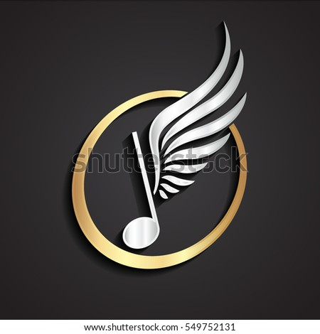 3d silver winged music note gold logo