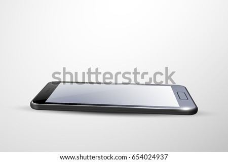 3D Smart phone. Black. Different angle.
