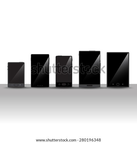 3d smart phones set   isolated