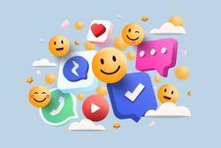 3D Social media platform, online social communication applications concept, emoji, hearts, chat on light blue background. 3d Vector illustration