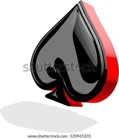 3D spades card suit
