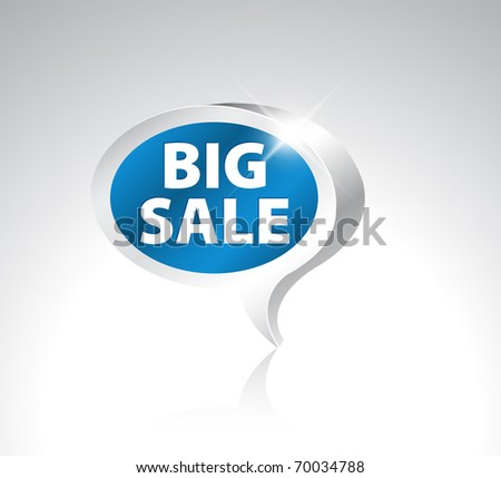 3D speech bubble pointer for big sale - blue with silver border