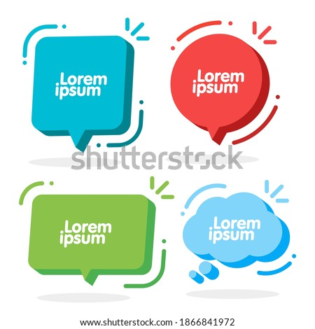 3d Speech Bubble Shapes Set. Vector cloud, square, circle and rectangle chat box banner. Banner, sticker, tag, badge template with space for text.