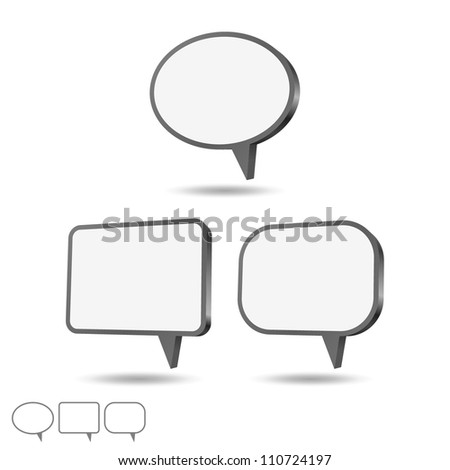 3d speech bubbles set, vector