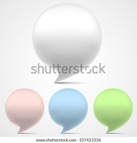3d speech bubbles. Vector set