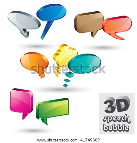 3d speech bubbles vector set.