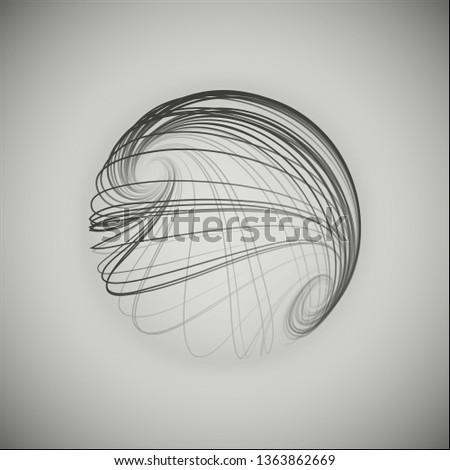 3d sphere consisting of smoothly twisted lines. Grey sphere. Sphere logo. Sphere art.