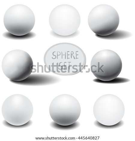 3D sphere. Set of eight realistic white spheres with shadows. Vector illustration.