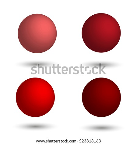 3D sphere. Set of realistic balls of different shades of red. Vector illustration.