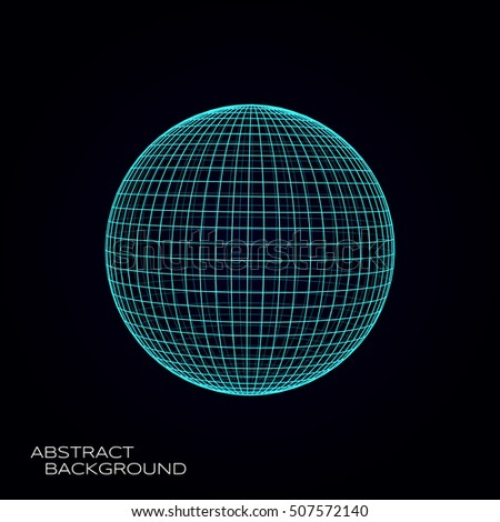 3d sphere vector illustration. Rectangular mesh object. Technological abstract background design element.